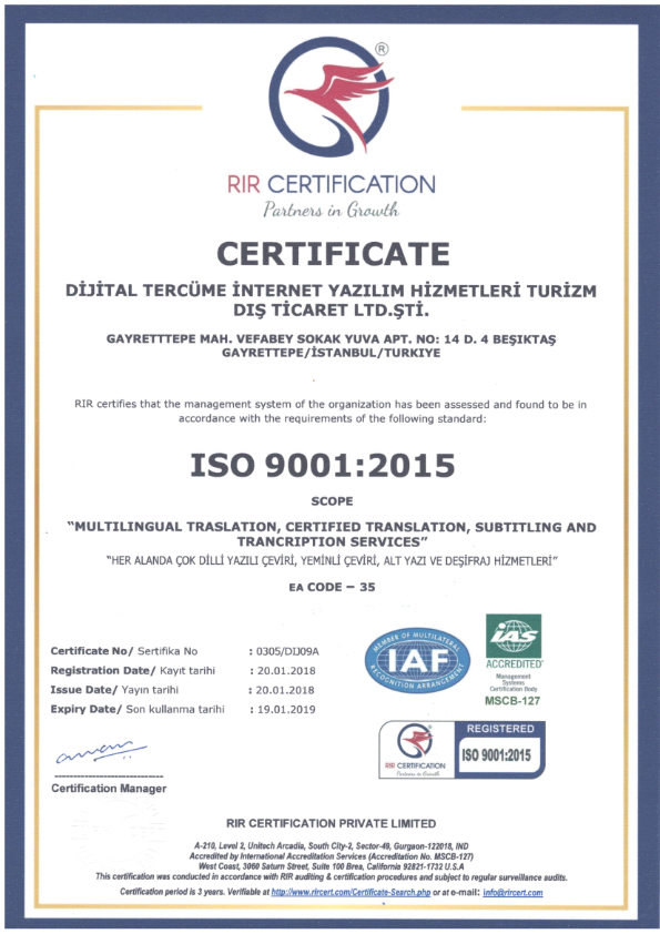 <strong>ISO 9001:2015</strong> Quality Management System